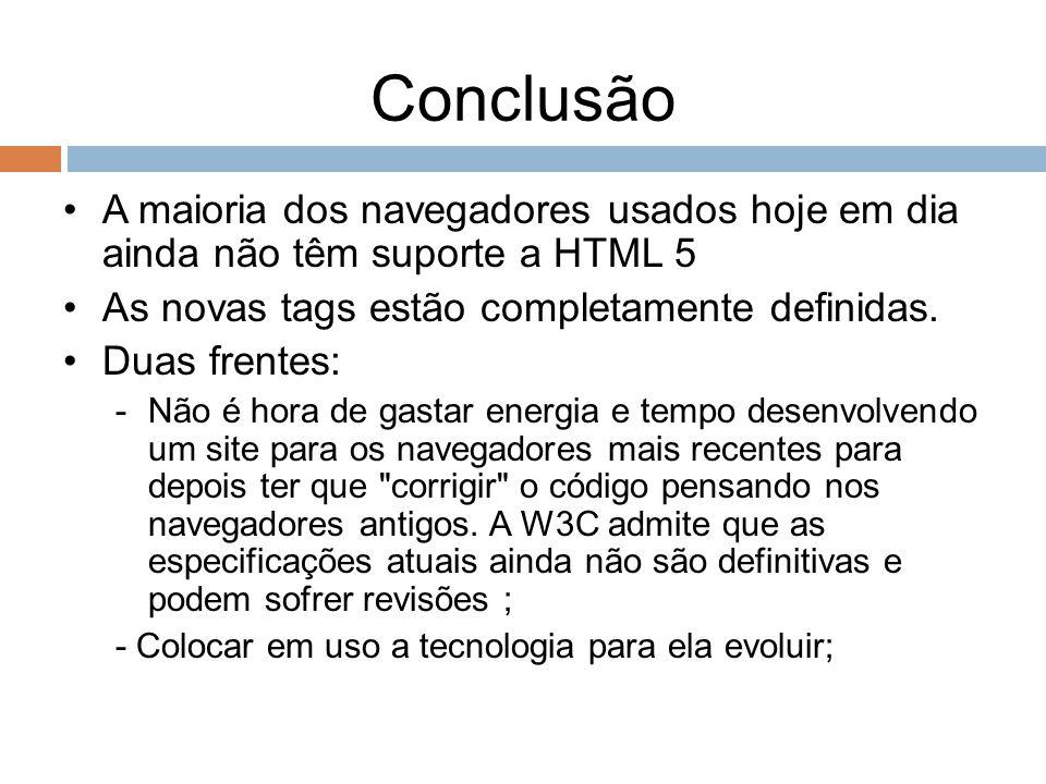 Conclusão A maioria dos navegadores usados hoje em dia ainda não têm suporte a HTML 5. As novas tags estão completamente definidas.