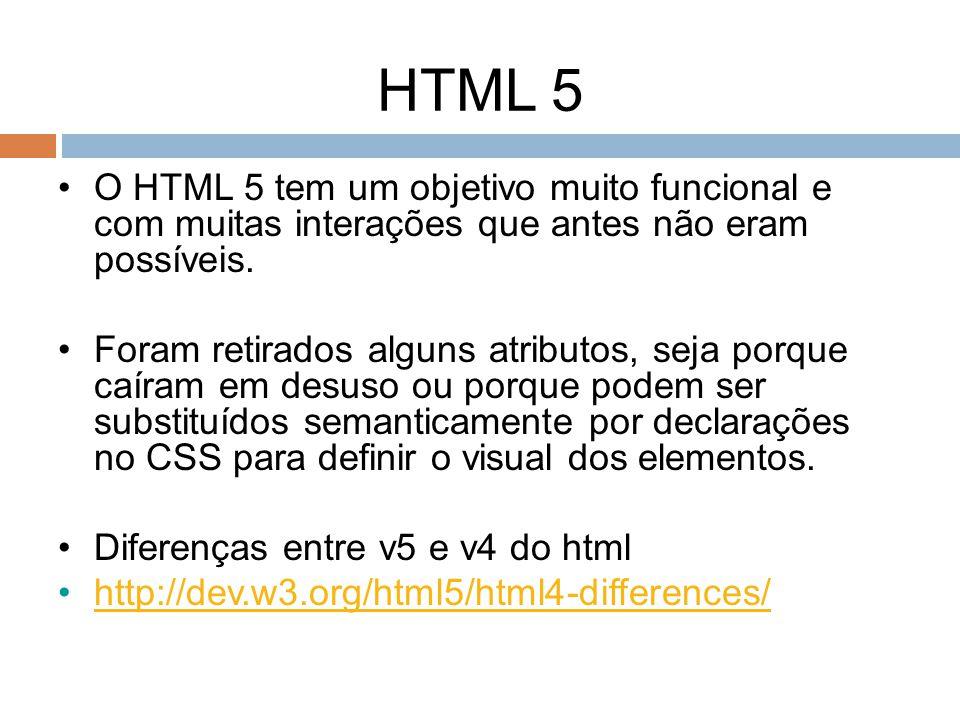 HTML 5 O HTML 5 tem um objetivo muito funcional e com muitas interações que antes não eram possíveis.