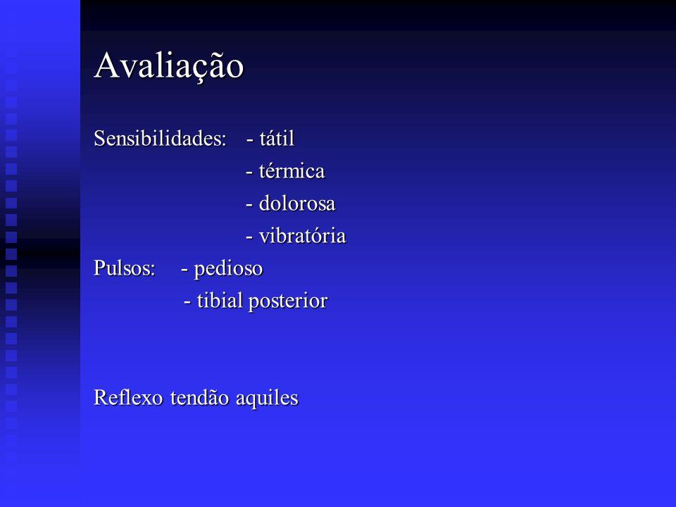 Avaliação Sensibilidades: - tátil - térmica - dolorosa - vibratória