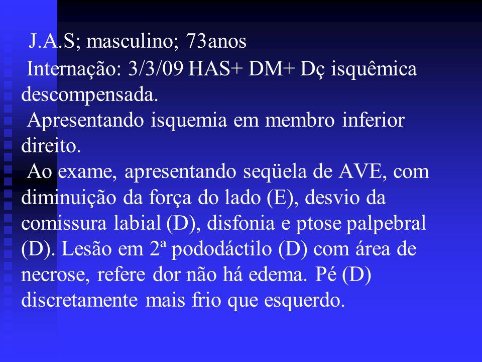 J.A.S; masculino; 73anos Internação: 3/3/09 HAS+ DM+ Dç isquêmica descompensada.