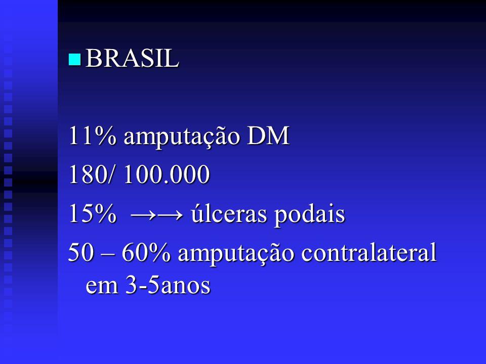 BRASIL 11% amputação DM. 180/ 100.000. 15% →→ úlceras podais.