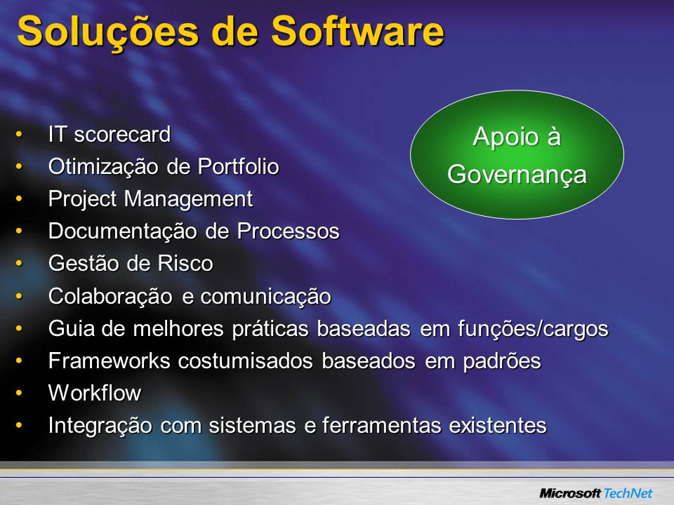 Soluções de Software Apoio à Governança IT scorecard