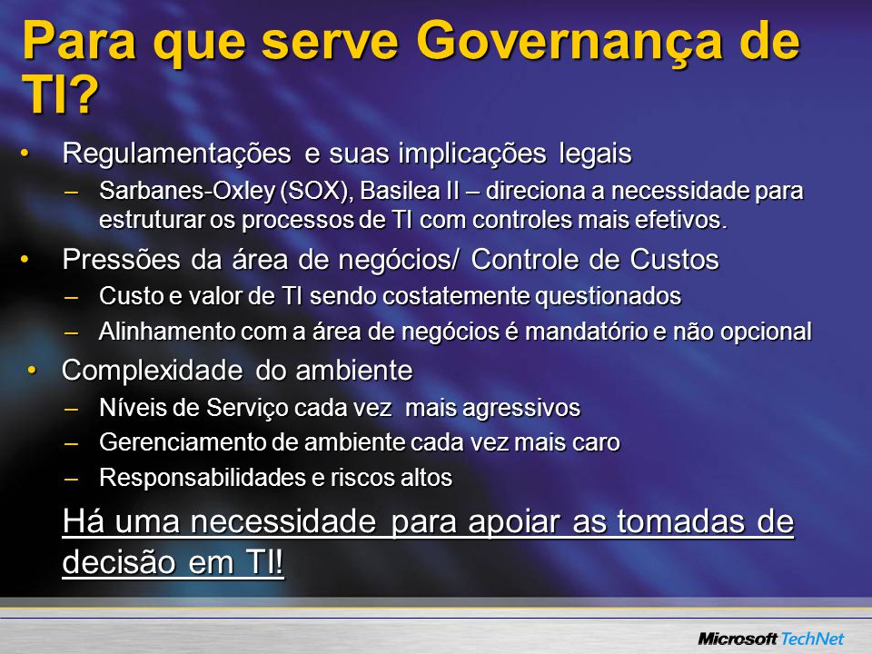 Para que serve Governança de TI