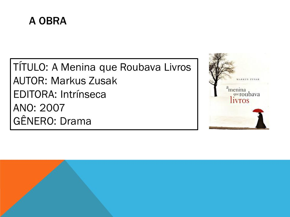 A obra TÍTULO: A Menina que Roubava Livros. AUTOR: Markus Zusak. EDITORA: Intrínseca. ANO: 2007.
