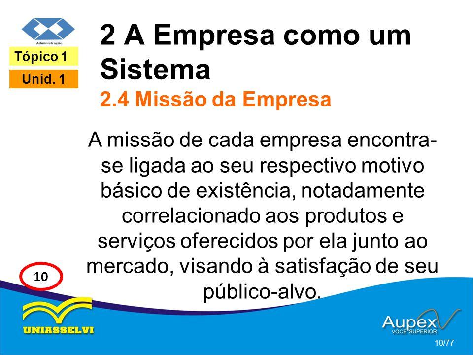 2 A Empresa como um Sistema 2.4 Missão da Empresa