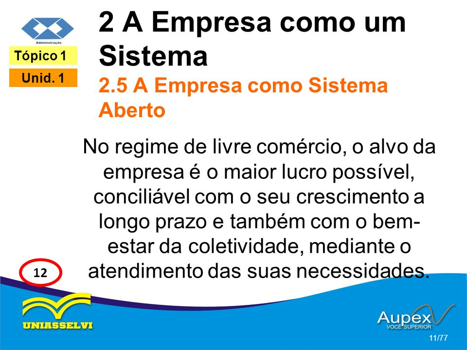 2 A Empresa como um Sistema 2.5 A Empresa como Sistema Aberto