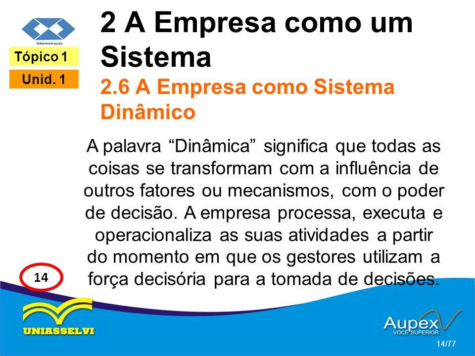 2 A Empresa como um Sistema 2.6 A Empresa como Sistema Dinâmico