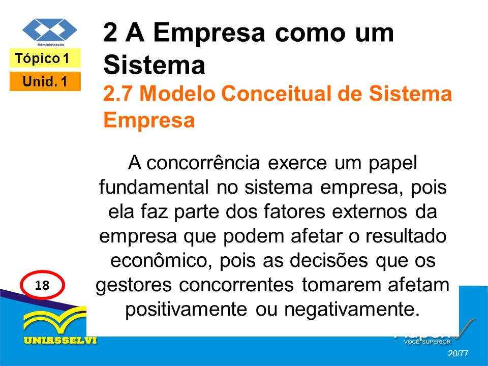 2 A Empresa como um Sistema 2.7 Modelo Conceitual de Sistema Empresa