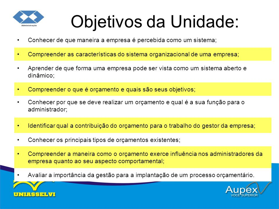 Objetivos da Unidade: Conhecer de que maneira a empresa é percebida como um sistema;