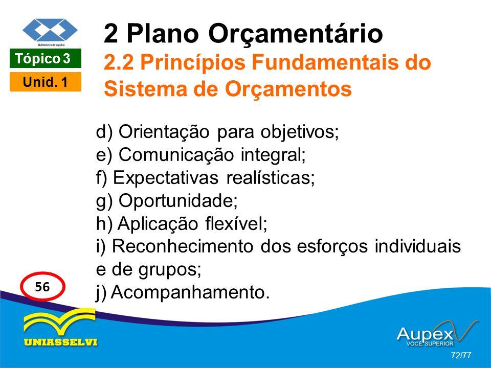 2 Plano Orçamentário 2.2 Princípios Fundamentais do Sistema de Orçamentos