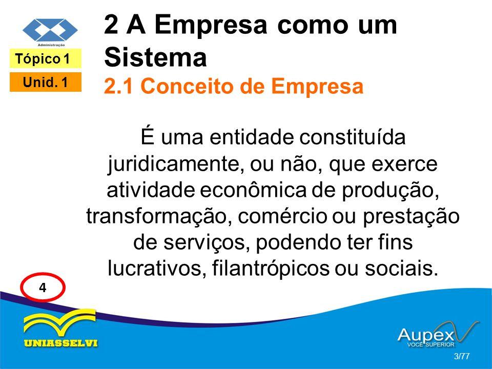 2 A Empresa como um Sistema 2.1 Conceito de Empresa