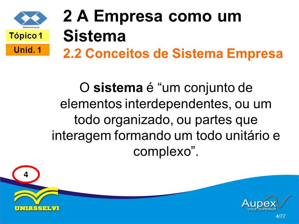 2 A Empresa como um Sistema 2.2 Conceitos de Sistema Empresa