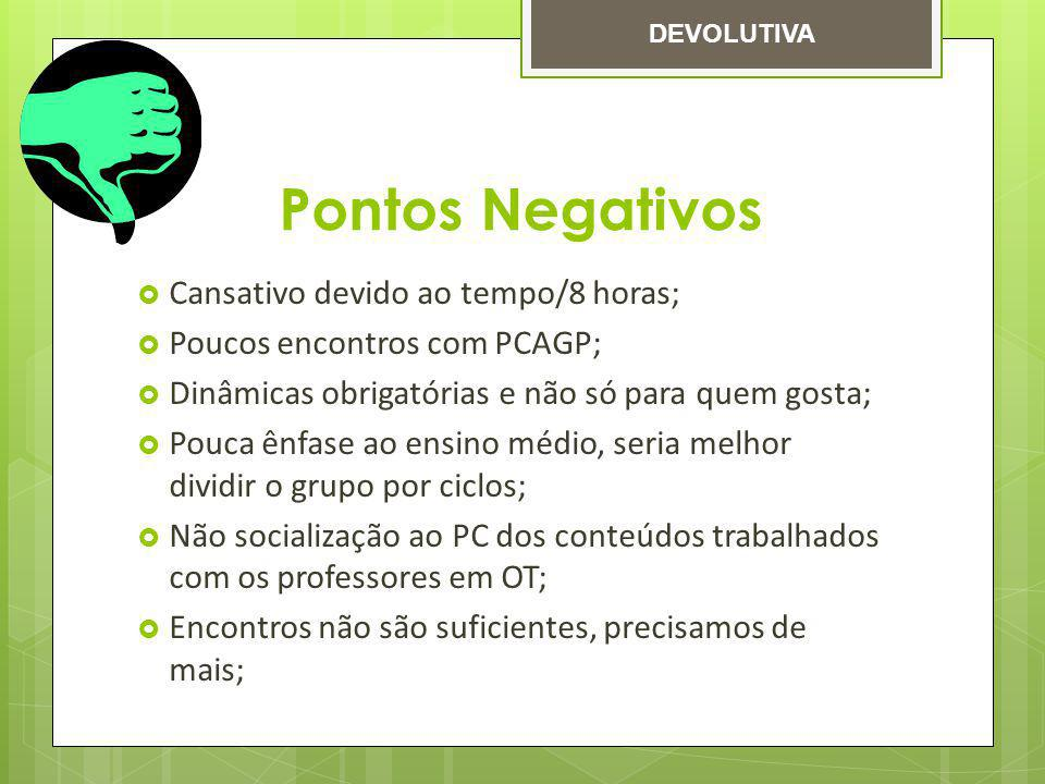 Pontos Negativos Cansativo devido ao tempo/8 horas;