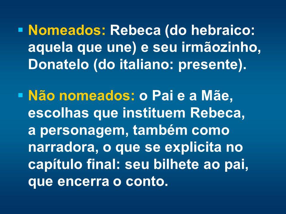 Nomeados: Rebeca (do hebraico: aquela que une) e seu irmãozinho, Donatelo (do italiano: presente).