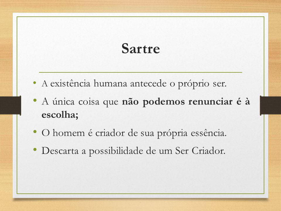 Sartre A única coisa que não podemos renunciar é à escolha;