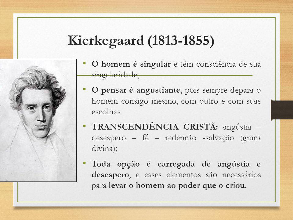 Kierkegaard (1813-1855) O homem é singular e têm consciência de sua singularidade;