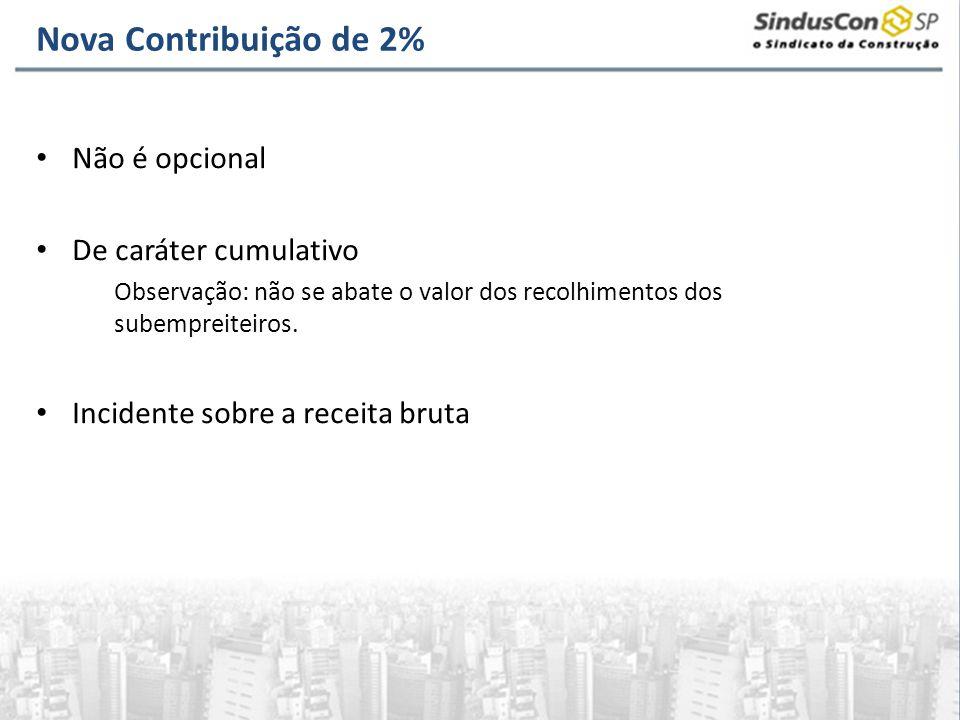 Nova Contribuição de 2% Não é opcional De caráter cumulativo