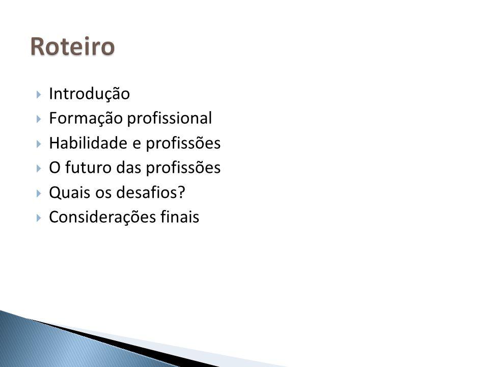 Roteiro Introdução Formação profissional Habilidade e profissões