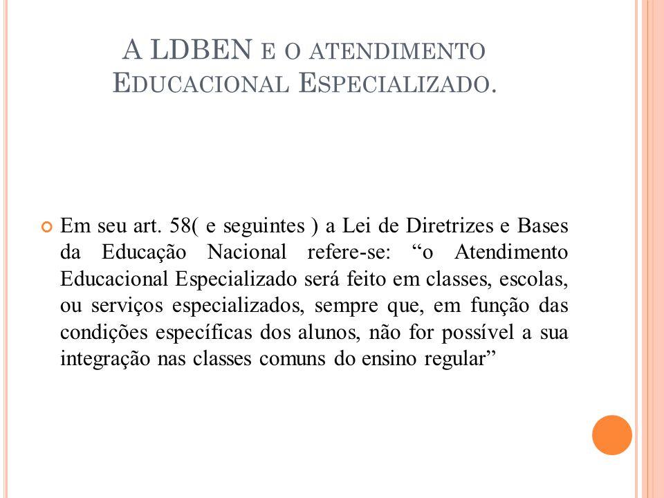 A LDBEN e o atendimento Educacional Especializado.