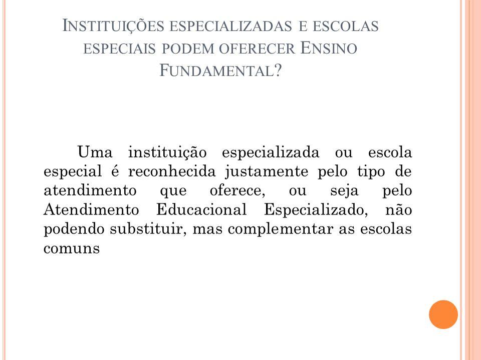 Instituições especializadas e escolas especiais podem oferecer Ensino Fundamental