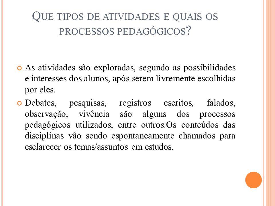 Que tipos de atividades e quais os processos pedagógicos