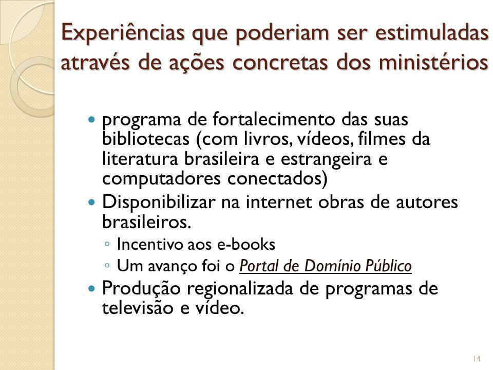 Experiências que poderiam ser estimuladas através de ações concretas dos ministérios