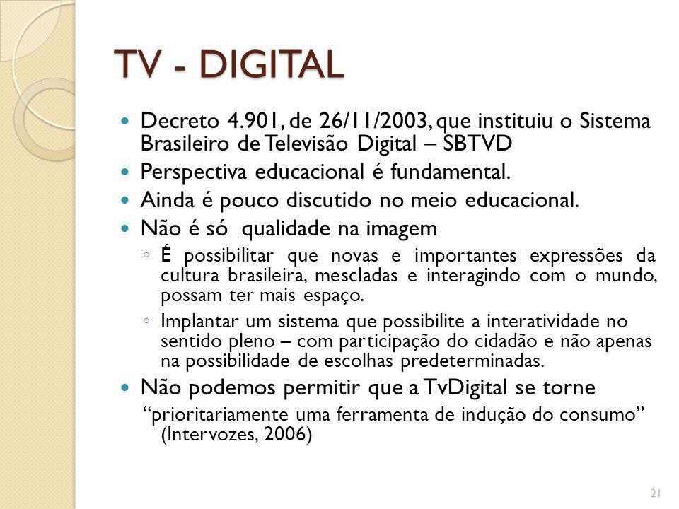 TV - DIGITAL Decreto 4.901, de 26/11/2003, que instituiu o Sistema Brasileiro de Televisão Digital – SBTVD.