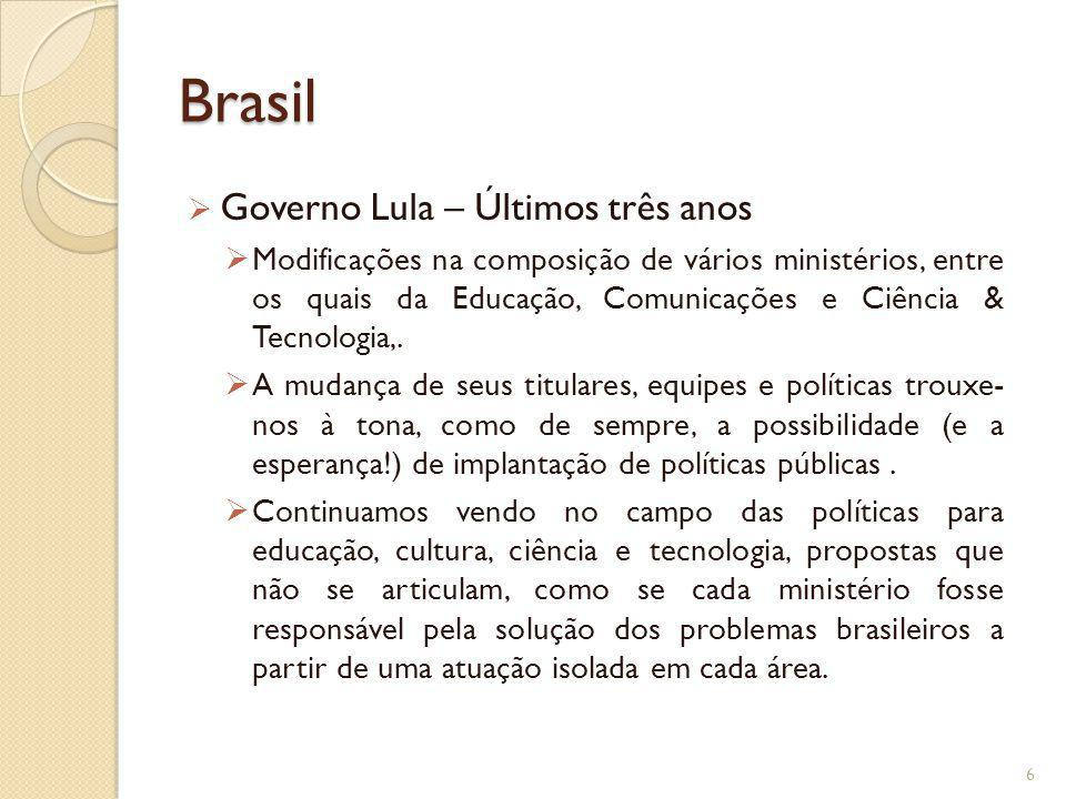 Brasil Governo Lula – Últimos três anos