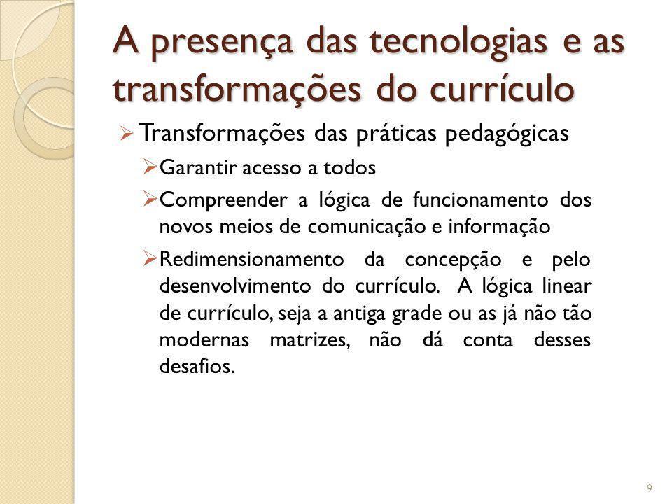 A presença das tecnologias e as transformações do currículo