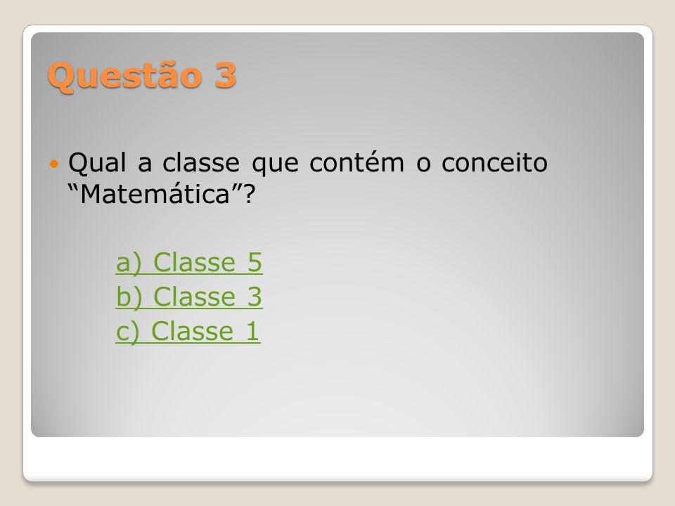 Questão 3 Qual a classe que contém o conceito Matemática