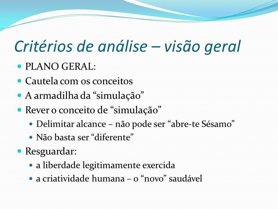 Critérios de análise – visão geral