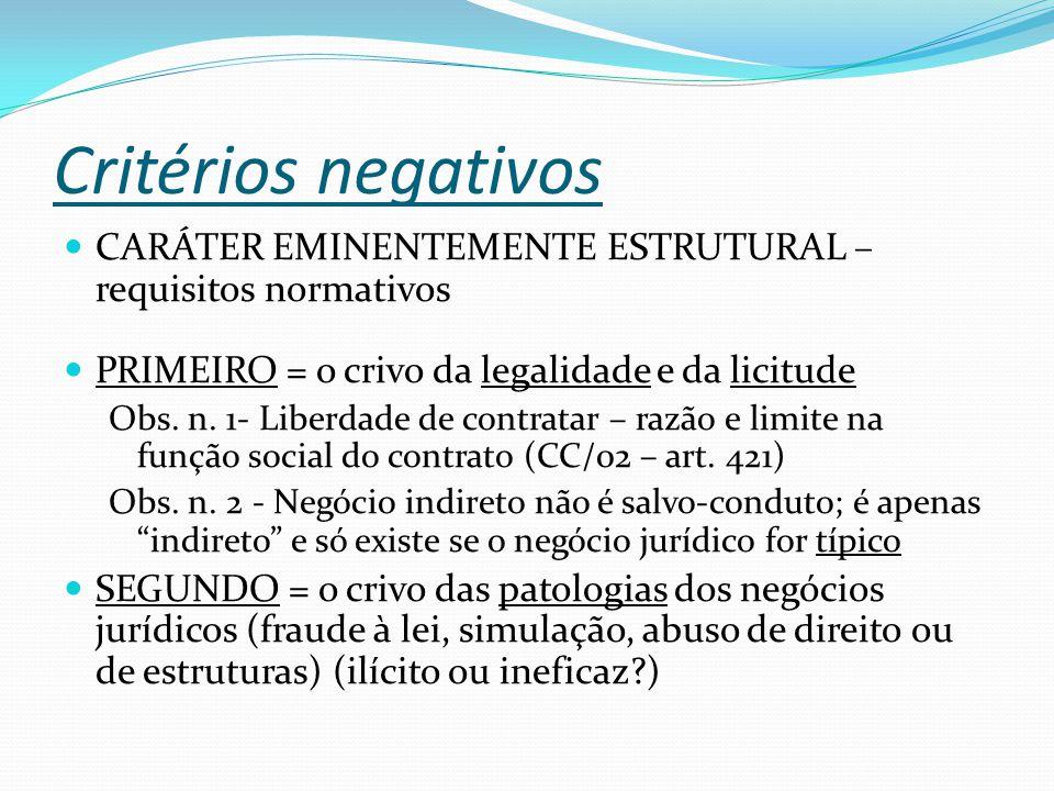 Critérios negativos CARÁTER EMINENTEMENTE ESTRUTURAL – requisitos normativos. PRIMEIRO = o crivo da legalidade e da licitude.