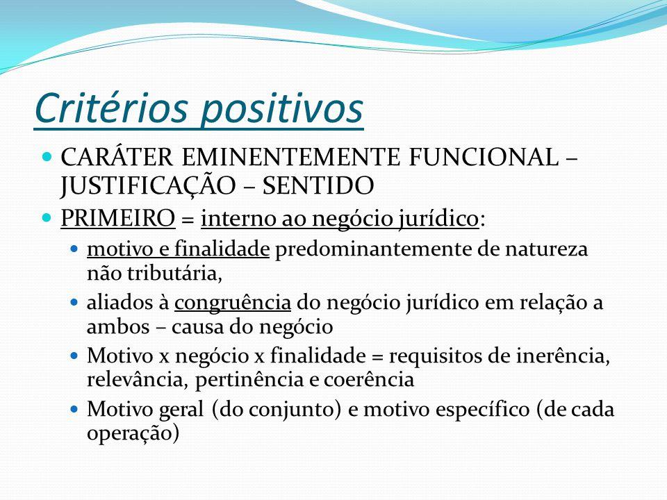 Critérios positivos CARÁTER EMINENTEMENTE FUNCIONAL – JUSTIFICAÇÃO – SENTIDO. PRIMEIRO = interno ao negócio jurídico: