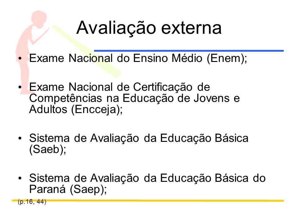 Avaliação externa Exame Nacional do Ensino Médio (Enem);