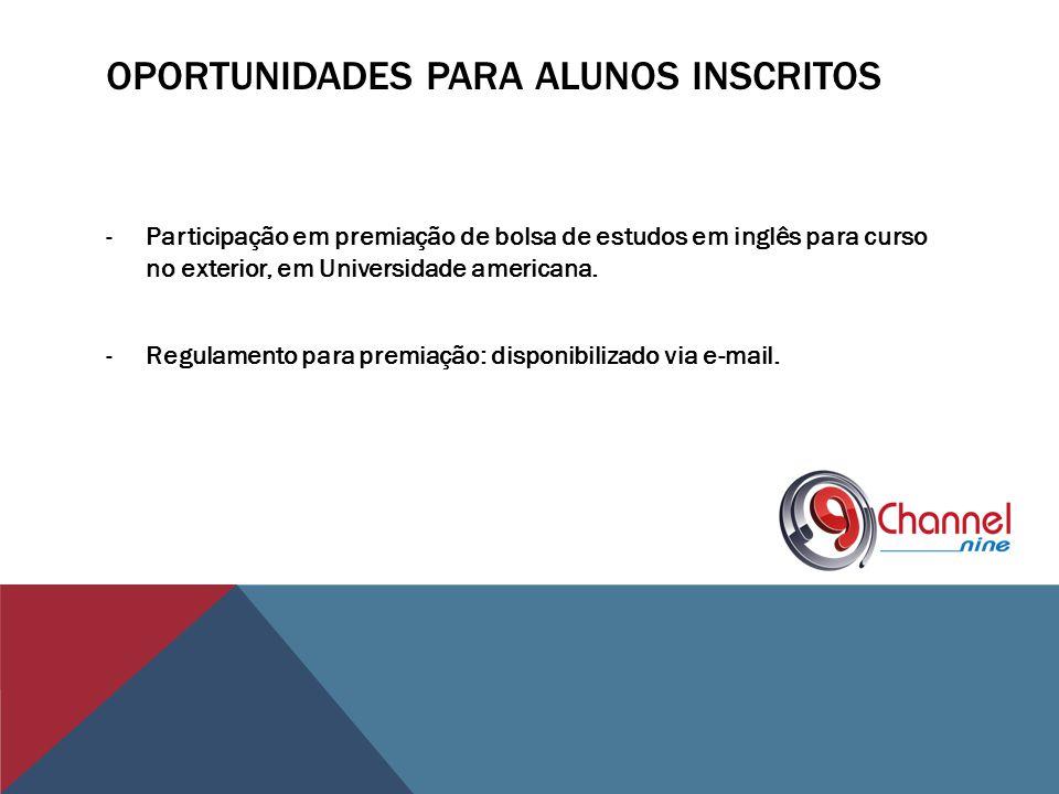 Oportunidades para alunos inscritos