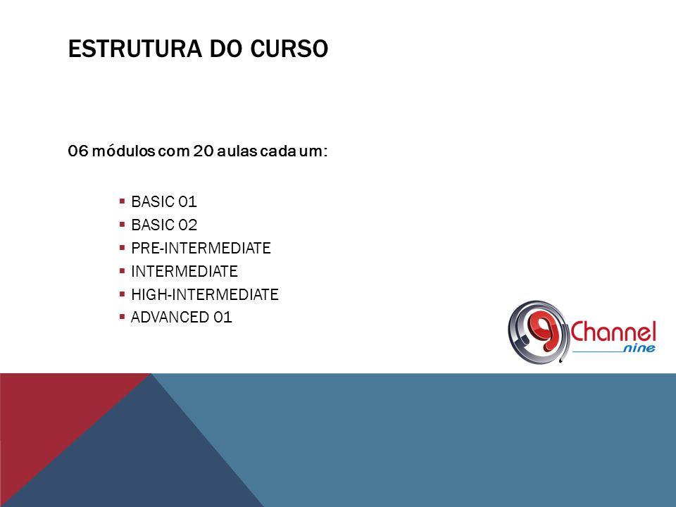ESTRUTURA DO CURSO 06 módulos com 20 aulas cada um: BASIC 01 BASIC 02