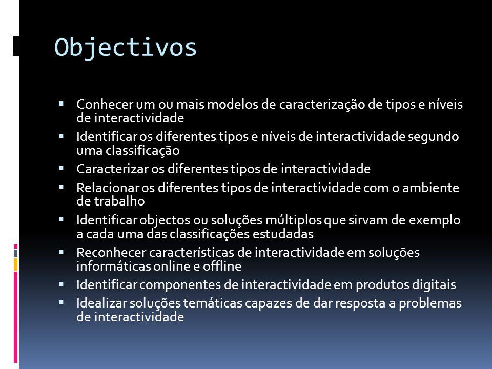 Objectivos Conhecer um ou mais modelos de caracterização de tipos e níveis de interactividade.