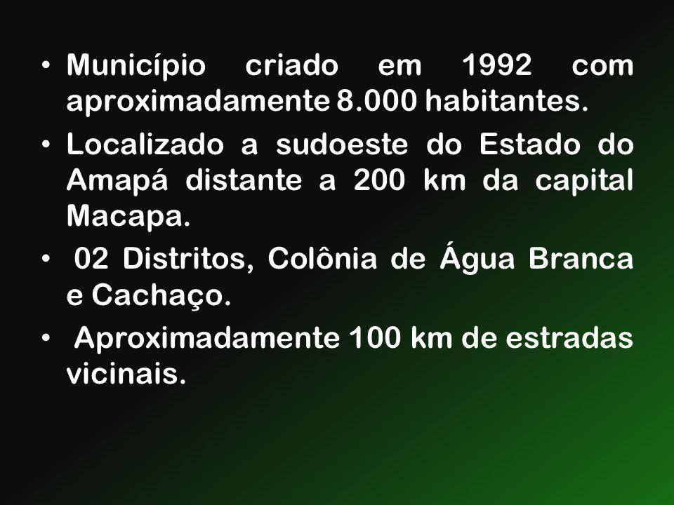 Município criado em 1992 com aproximadamente 8.000 habitantes.