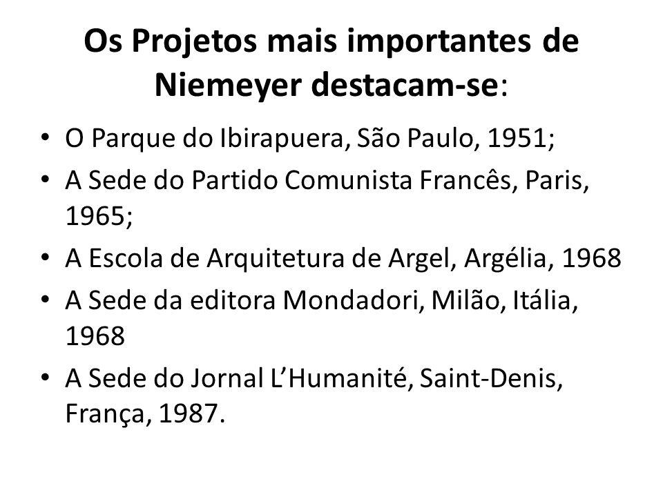 Os Projetos mais importantes de Niemeyer destacam-se:
