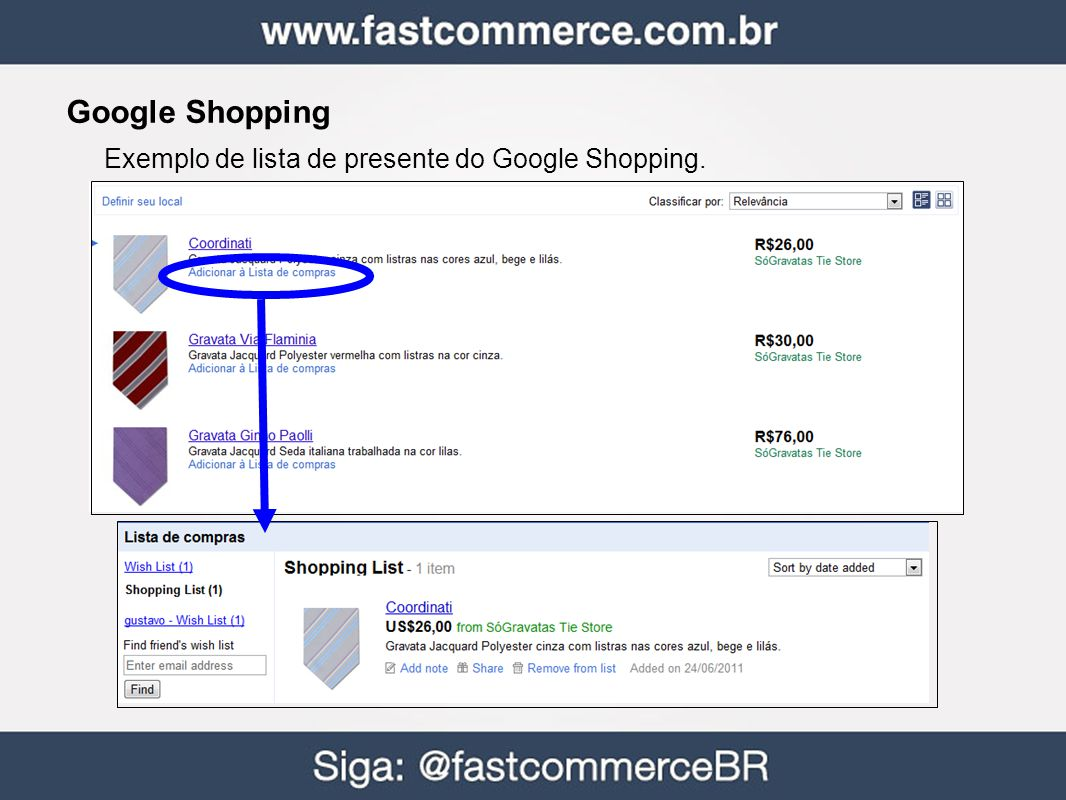 Google Shopping Exemplo de lista de presente do Google Shopping. 35