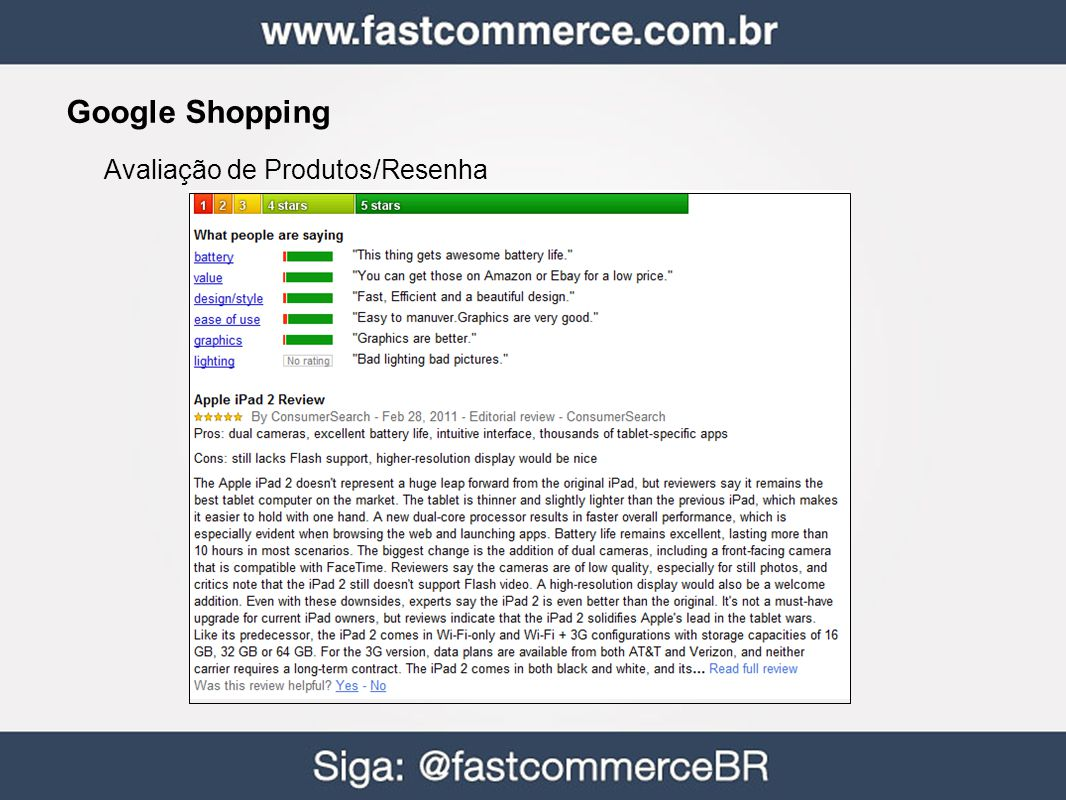 Google Shopping Avaliação de Produtos/Resenha 38