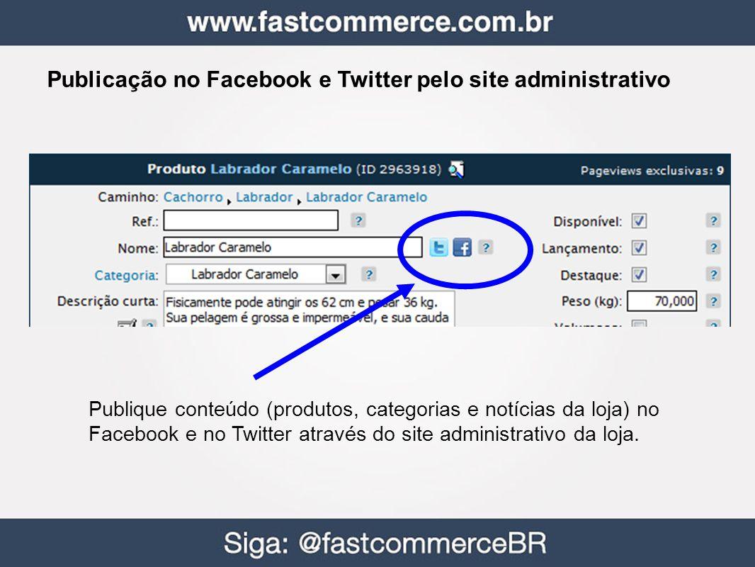 Publicação no Facebook e Twitter pelo site administrativo