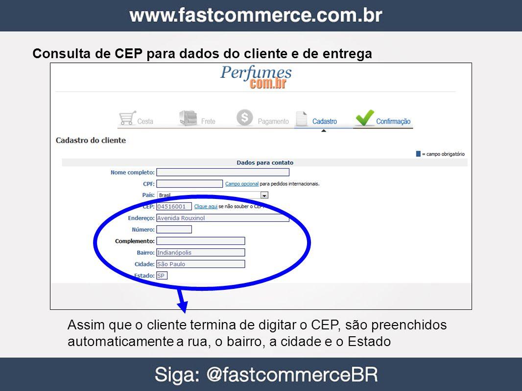 Consulta de CEP para dados do cliente e de entrega