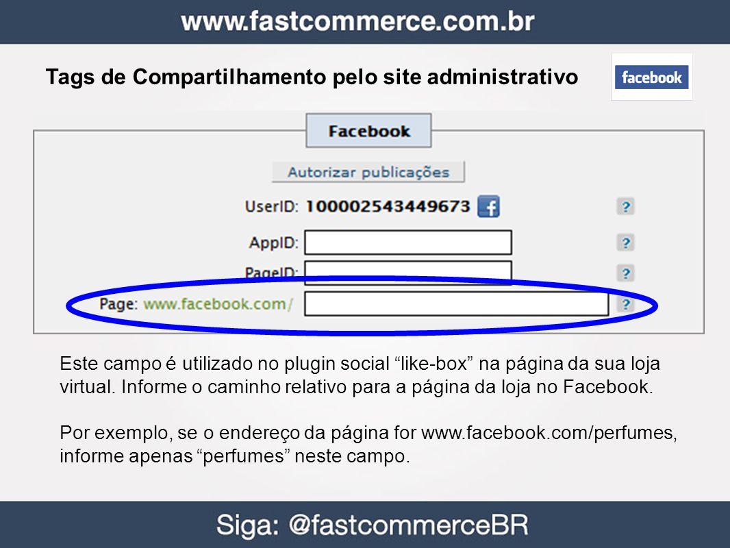 Tags de Compartilhamento pelo site administrativo