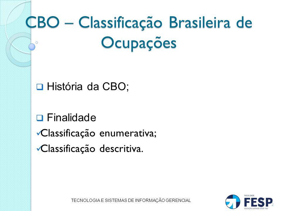 CBO – Classificação Brasileira de Ocupações