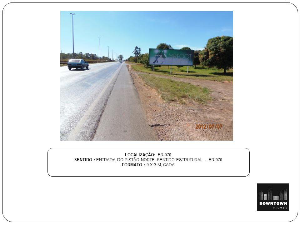 SENTIDO : ENTRADA DO PISTÃO NORTE SENTIDO ESTRUTURAL – BR 070