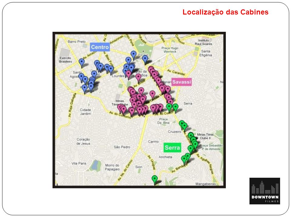 Localização das Cabines