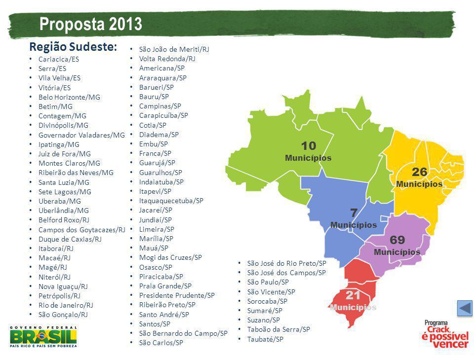 Proposta 2013 Região Sudeste: 10 Municípios 26 Municípios 7 Municípios