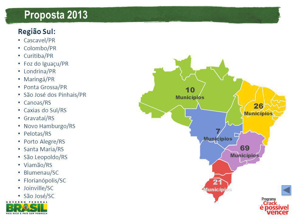 Proposta 2013 Região Sul: 10 Municípios 26 Municípios 7 Municípios