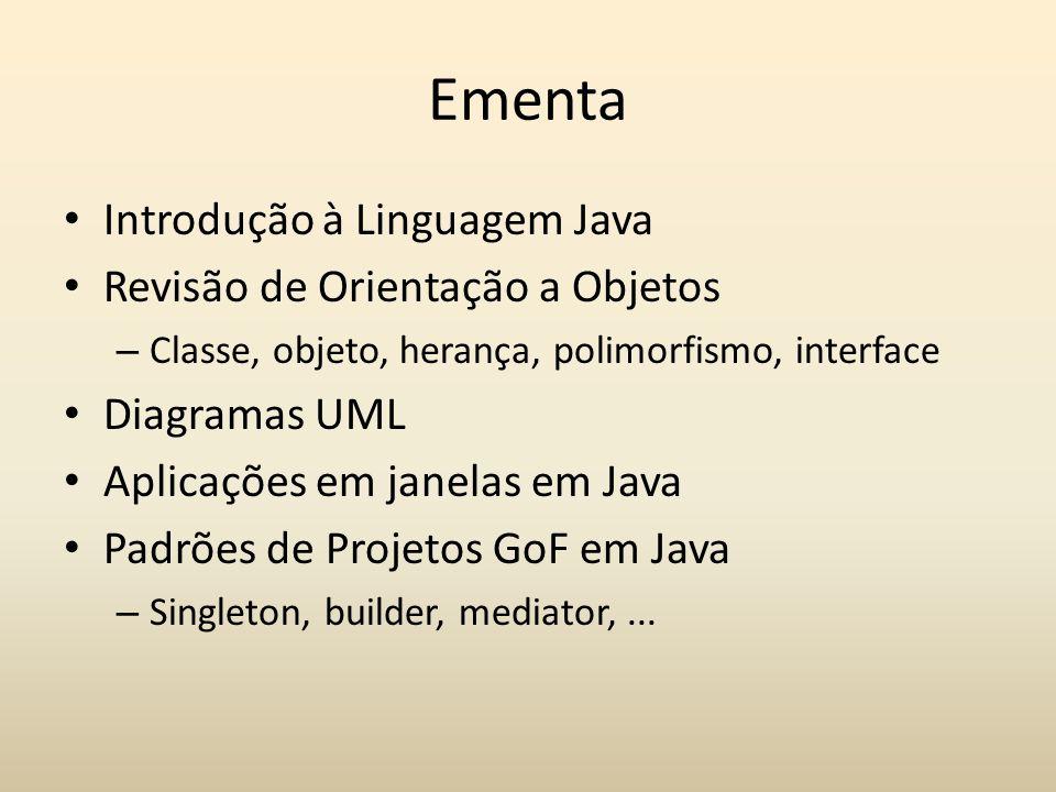 Ementa Introdução à Linguagem Java Revisão de Orientação a Objetos